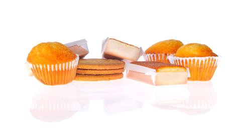 obesidad infantil: Pasteles y panecillos para el desayuno. Foto de archivo