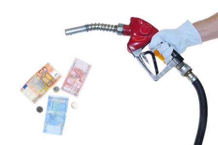 deposits: Fuel pump and money. Stock Photo