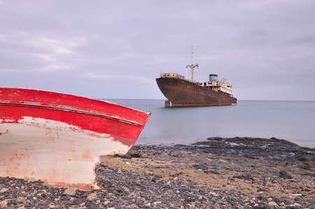 telamon: Boat stranded Stock Photo