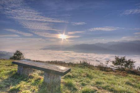 climatology: sunrise from fog. Stock Photo