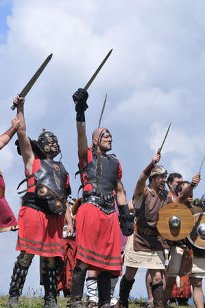 Representation of a battle between Romans and barbarians in carabids, Asturias, Spain. Stock Photo - 10052287
