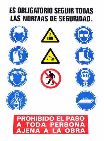 works: Safety sign. Stock Photo