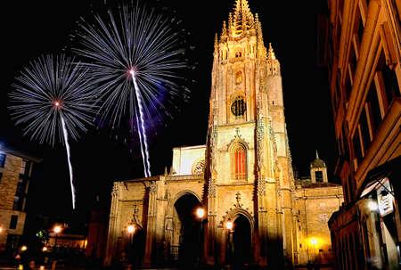 pyrotechnic displays: cathedral of oviedo, asturias, spain.