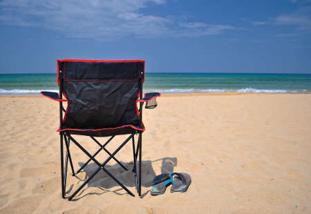 stres: relaxing on the beach. Stock Photo