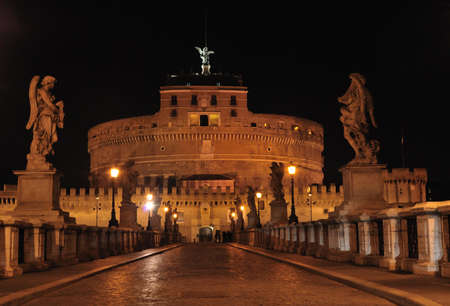 angelo: Bridge and Castel St Angelo, Rome, Italy.