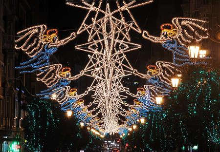 straat feest: Kerst verlichting.