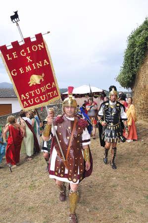 asturias: Carabanzo, Asturias, Spain - August 21, 2011 - Recreation of the battle between the Romans and Asturian. Editorial