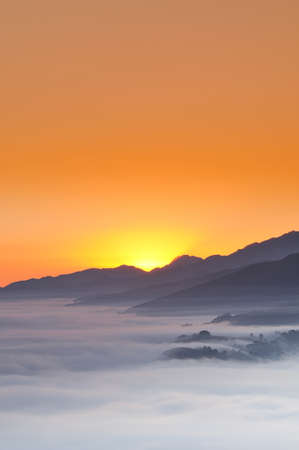 climatology: A point of sunrise in the mountains.