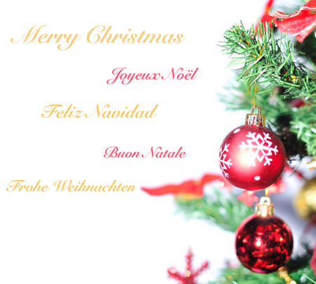christmas wreaths: Merry christmas in different languages. Stock Photo