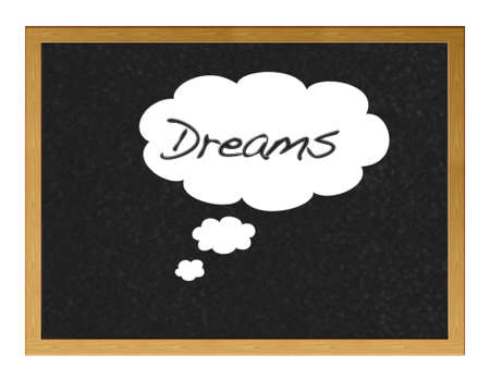 Blackboard with the word written dreams.