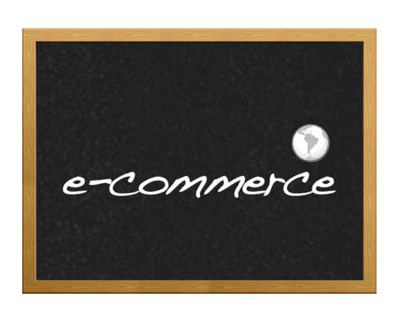 Blackboard with the phrase written e-commerce. photo
