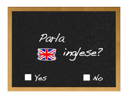 Blackboard with the phrase do you speak English? written in Italian.en italiano. photo
