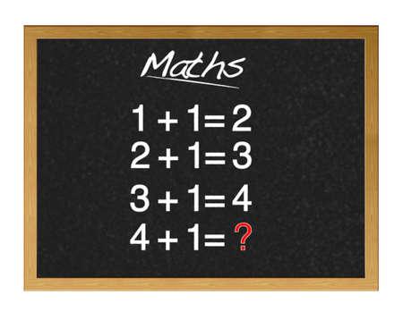 sumas: Las sumas pizarr�n en la escuela. Foto de archivo