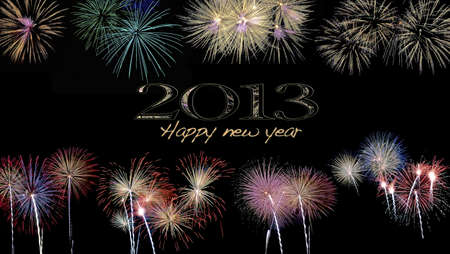 Happy new year 2013 with fireworks. photo