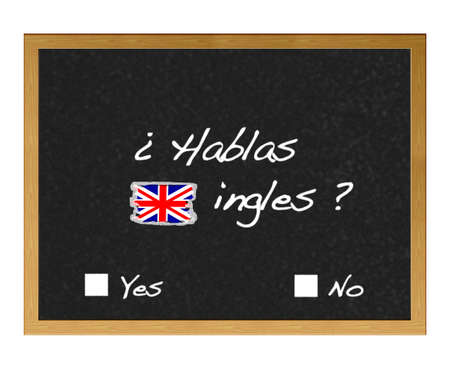 ling: Blackboard with the words, you speak English?