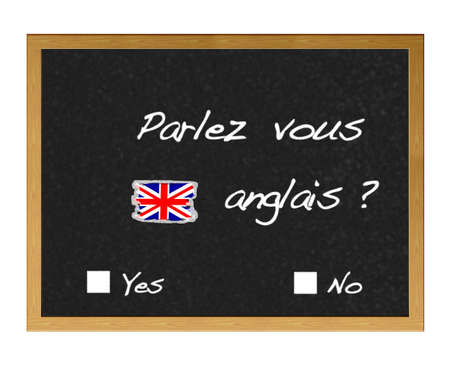 polyglot: Blackboard with the words you speak English?, written in French.
