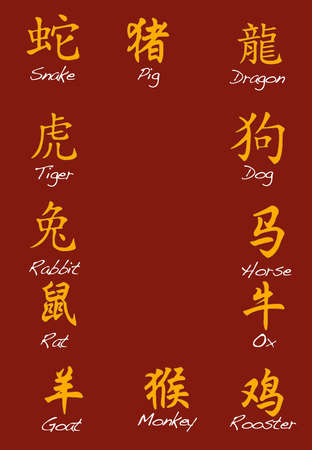 snake calendar: Chinese zodiac signs. Stock Photo