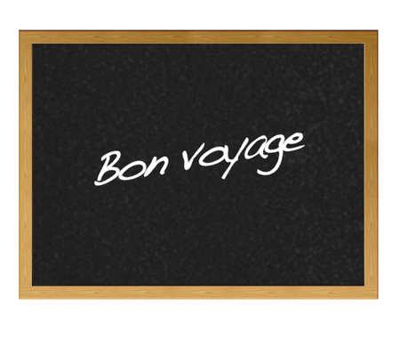 Isolated blackboard with the phrase, bon voyage. Stock Photo - 12215020