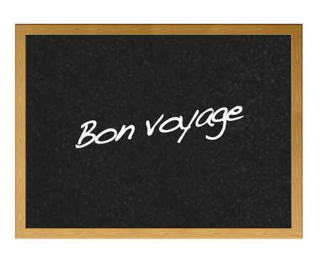 Isolated blackboard with the phrase, bon voyage. Stock Photo - 12215020