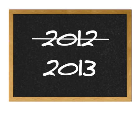 Isolated blackboard with 2012 and 2013. photo