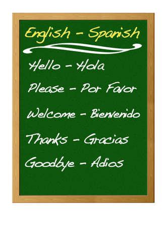 Engels - Spaans. Stockfoto - 12215042