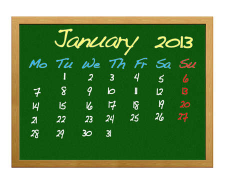 Calendar 2013, January. Stock Photo - 12215102
