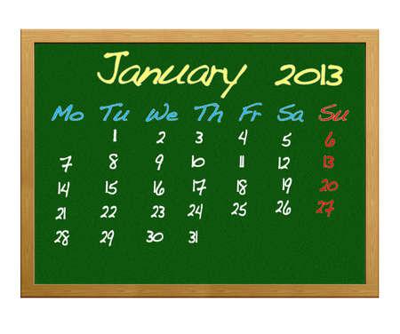 Calendario 2013, gennaio.