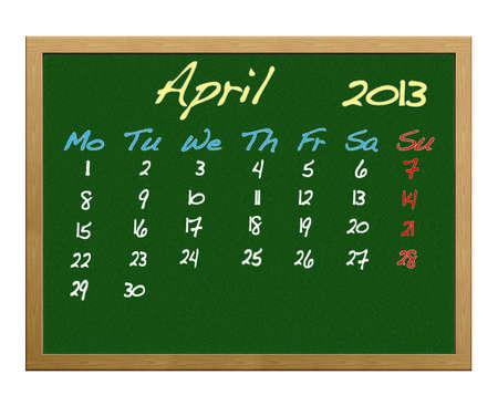 Calendar 2013, April. photo