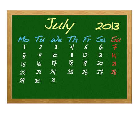 Calendar 2013, July. photo