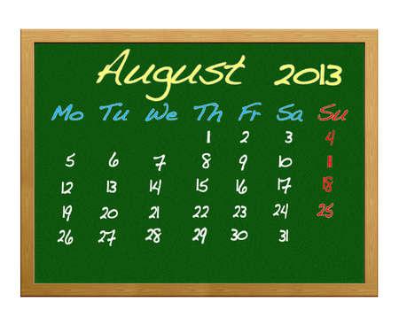 Calendario 2013, mese di agosto.