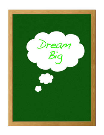 Green chalkboard with the words dream big. photo