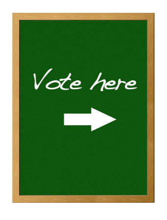 electorate: Green board with Vote here.