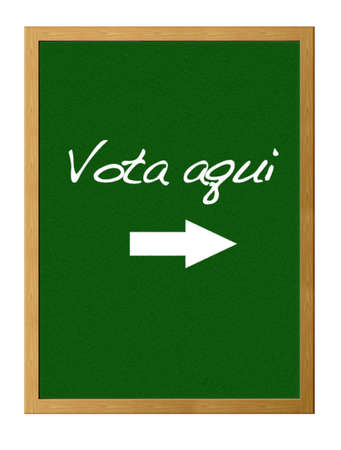 Green board with Vote here. Stock Photo - 12215288
