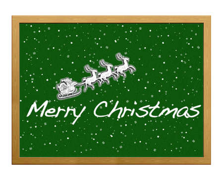 Isolated blackboard with Merry Christmas. Stock Photo - 12215360