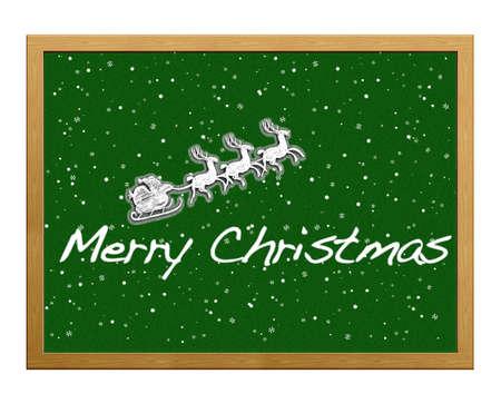 Isolated blackboard with Merry Christmas. Stock Photo - 12215360