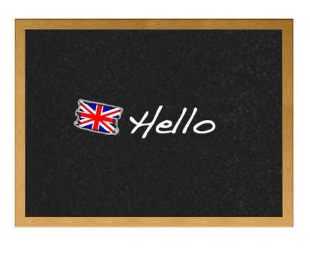 Isolated blackboard with Hello.