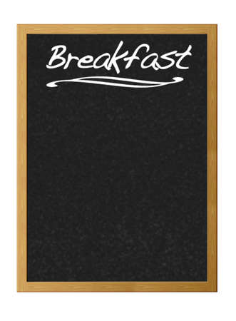 Isolated blackboard with breakfast. photo