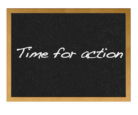 Isolated blackboard with Time for action. Stock Photo