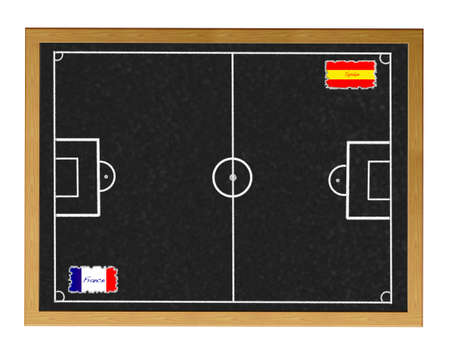 Blackboard France - Spain match.