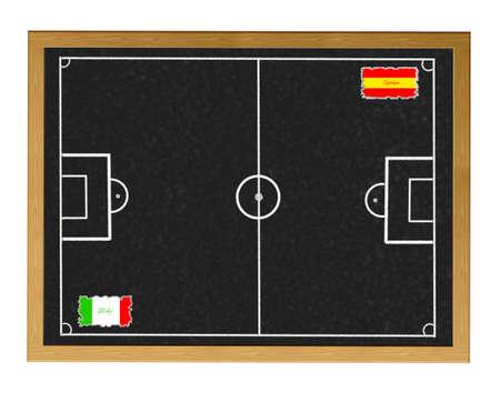 Blackboard Spain - Italy match.