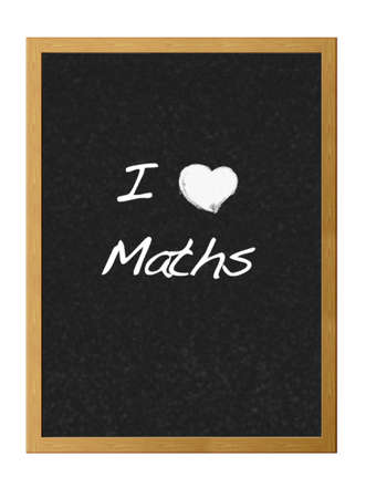 Isolated blackboard with love maths. photo