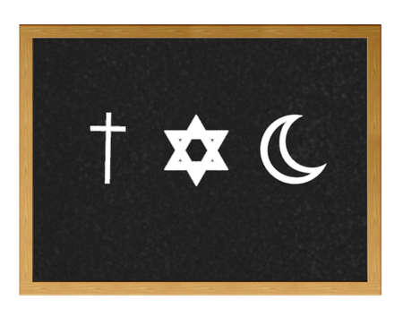 monotheism: Isolated blackboard with Religions.