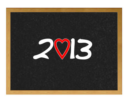 Isolated blackboard with 2013 love. photo