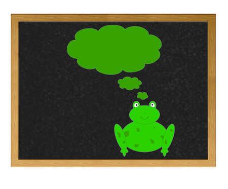leapfrog: Isolated blackboard with frog.
