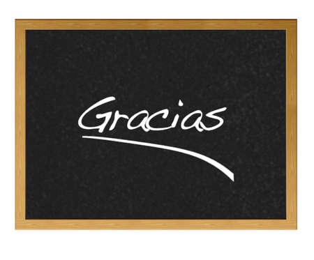 Blackboard with thanks in spanish.