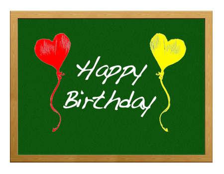 greenboard: Greenboard with happy birthday.