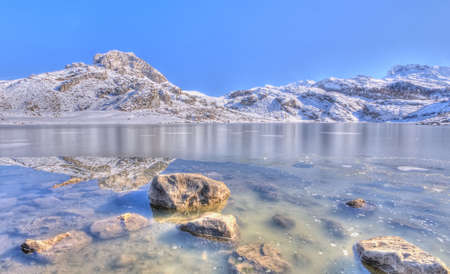 Snow in Lake Ercina, Asturias, Spain  Stockfoto