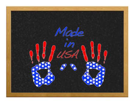 Isolated blackboard with hand USA. Stock Photo - 12554900