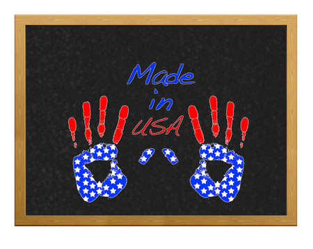 Isolated blackboard with hand USA. Stock Photo - 12554900