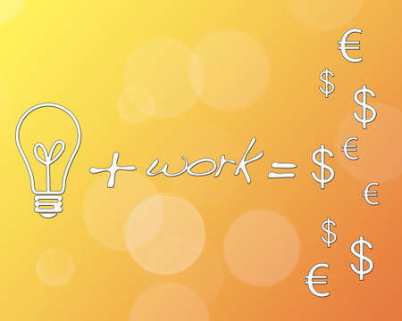 Idea more work equals money. photo